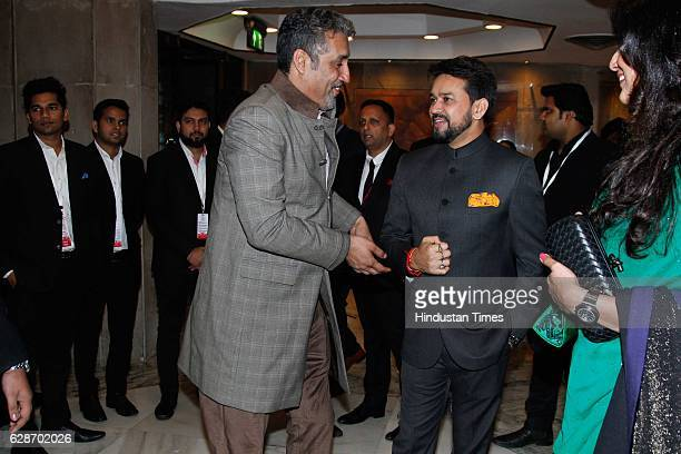 President Anurag Thakur with former Indian cricketer Atul Wassan during the wedding reception of Indian Cricketer Yuvraj Singh and Bollywood actor...