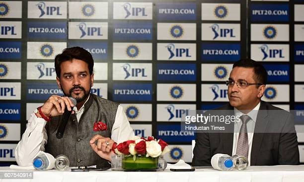 President Anurag Thakur with Rahul Johri first ever Chief Executive Officer of BCCI during a press conference on September 18 2016 in New Delhi India...