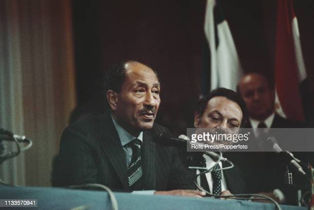 President Anwar Sadat of Egypt addresses a joint press conference in Jerusalem Israel on 21st November 1977 President Sadat's official visit would be...