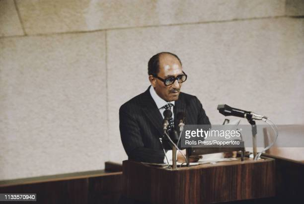 President Anwar Sadat of Egypt addresses the Knesset in Jerusalem Israel on 20th November 1977 President Sadat's official visit would be the first by...