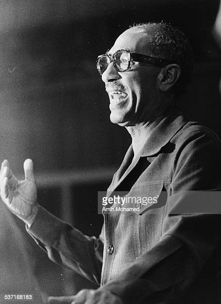 President Anwar Sadat of Egypt addressing the OUA Conference in Monrovia Liberia 1979