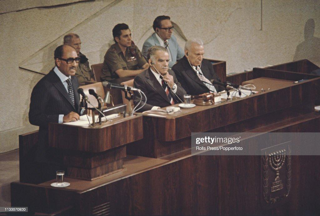 President Sadat Of Egypt Visits Israel : News Photo