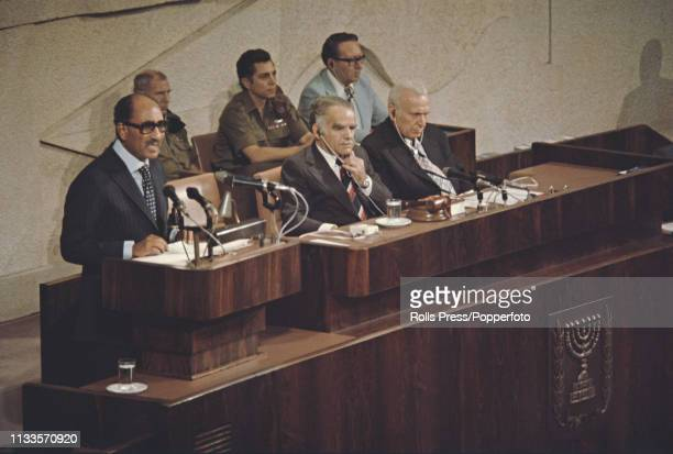 President Anwar Sadat of Egypt pictured on left delivering a speech to the Knesset Israel's parliament in Jerusalem Israel on 20th November 1977...