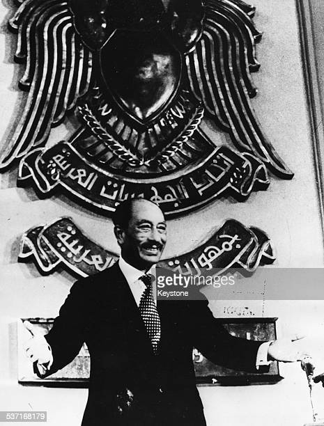 President Anwar Sadat speaking at the Egyptian Parliament about the peace agreement between Israel and Egypt October 1978