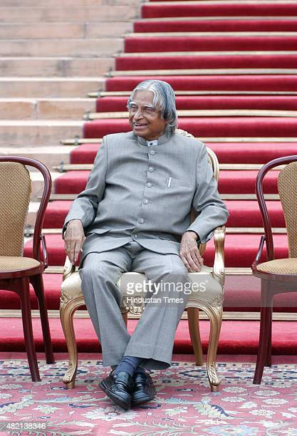 President APJ Abdul Kalam stands in the forecourt of Rashtrapati Bhawan after a reception to his staff member as his term completing on July 20 2007...