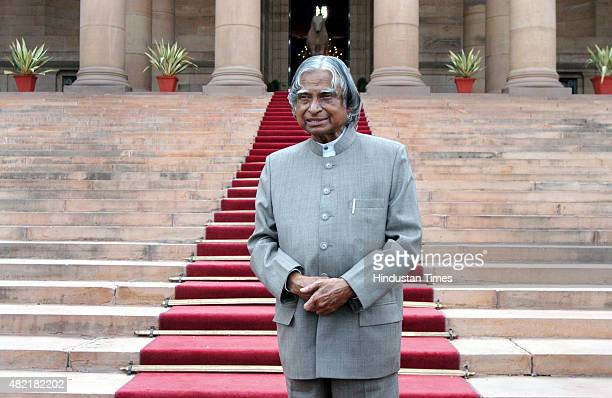 President APJ Abdul Kalam stands in the forecourt of Rashtrapati Bhavan after a reception to his staff member as his term completing on July 25 2007...