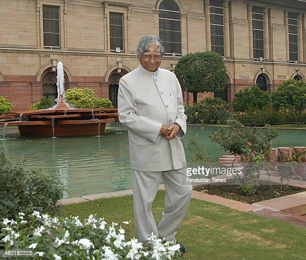 President APJ Abdul Kalam takes a stroll in the Mughal Garden at Rashtrapati Bhavan on July 24 2007 last day of his term Avul Pakir Jainulabdeen...