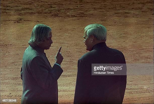 President APJ Abdul Kalam with Prime Minister Atal Bihari Vajpayee during the ceremonial reception of Iranian President Mahmoud Ahmadinejad at...