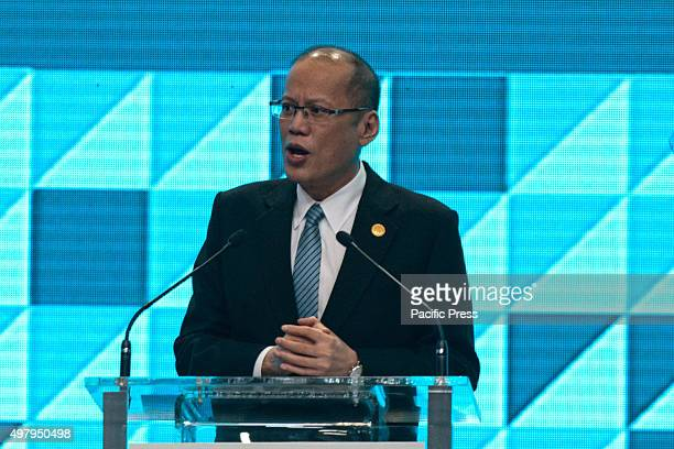 President Aquino speaking in the International Media Center at the World Trade Center in Pasay City. Philippine president Benigno Aquino III...