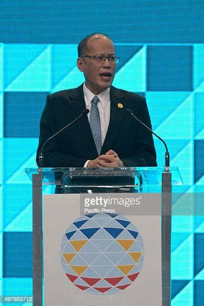 President Aquino speaking in the International Media Center at the World Trade Center in Pasay City Philippine President Benigno Aquino III discussed...