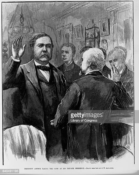 'President Arthur Taking the Oath at His Private Residence' Wood Engraging After a Drawing by Alexander