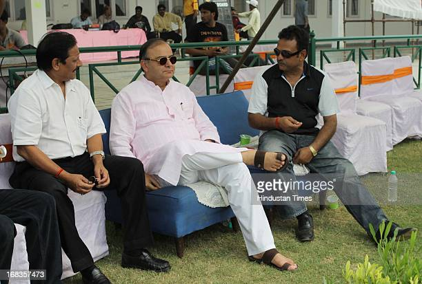 DDCA president Arun Jaitleyflanked by National Selector Yashpal Sharma and Chetan Chauhan watching proceeding of Delhi T20 match against Jammu and...