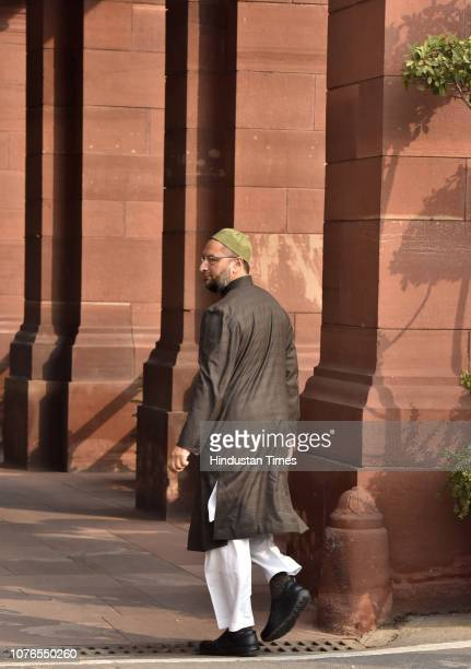 President Asaduddin Owaisi arrives to attend the Parliament Winter Session on January 2 2019 in New Delhi India