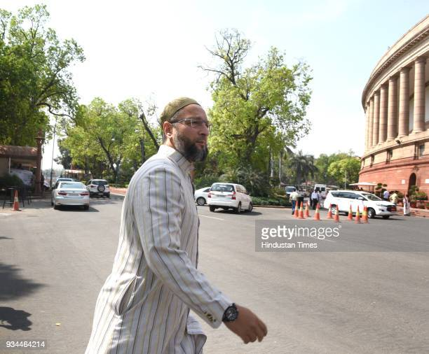 AIMIM president Asaduddin Owaisi during the Budget Session of Parliament on March 19 2018 in New Delhi India The noconfidence motion against the Modi...