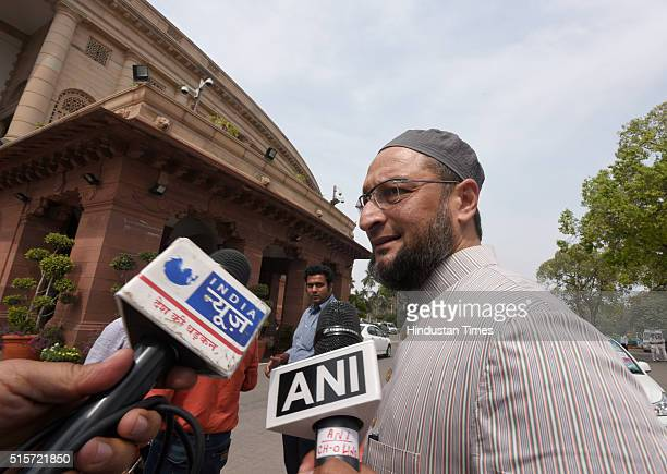 President Asaduddin Owaisi during the Parliament Budget Session on March 15 2016 in New Delhi India The Lok Sabha discussed The Real Estate Regulator...