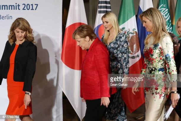 President Association of German Women Entrepreneurs Stephanie Bschorr German Chancellor Angela Merkel Ivanka Trump daughter of US President Donald...