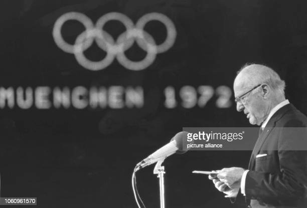 President Avery Brundage gives a speech at the final event of the Olympic Games in Munich on the 11th of September in 1972. He declared the XX. Games...