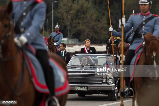 President Bachelet arrives at the ellipse of O'higgins Park to start the traditional military parade Chilean President Michelle Bachelet attends for...