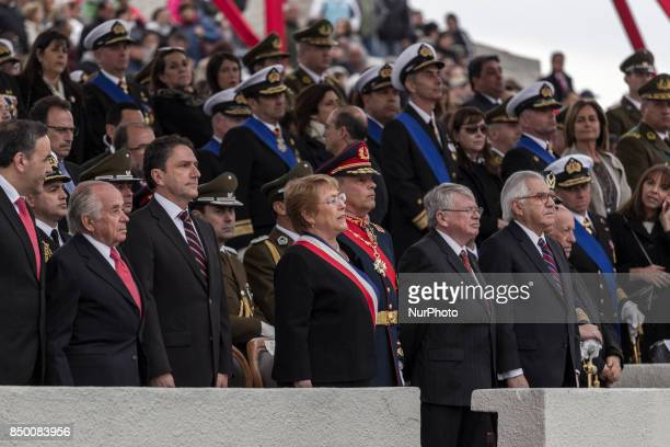President Bachelet congratulates the troops on their presentation and ends the military parade Chilean President Michelle Bachelet attends for the...