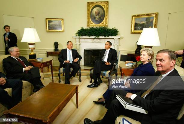 S President Barack Obama accompanied by Secretary of State Hillary Rodham Clinton and National Security Adviser Gen James Jones meets with Russian...