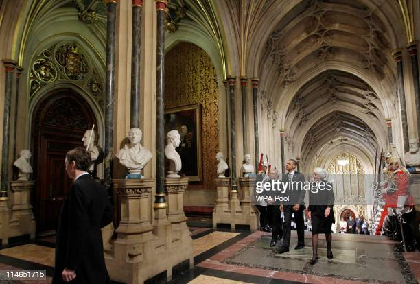 President Barack Obama accompanied by the speaker of the House of Commons John Bercow and House of Lords Speaker Baroness Hayman arrive at the Palace...