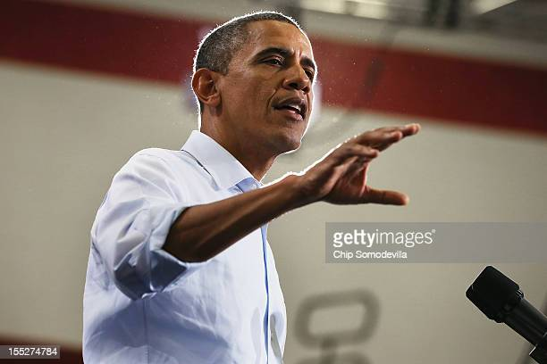 S President Barack Obama addresses a campaign rally at Lima Senior High School November 2 2012 in Lima Ohio With four days left in the general...