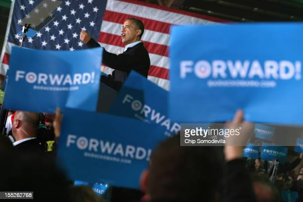 S President Barack Obama addresses a campaign rally at the Franklin County fairgrounds November 2 2012 in Hilliard Ohio With four days left until the...