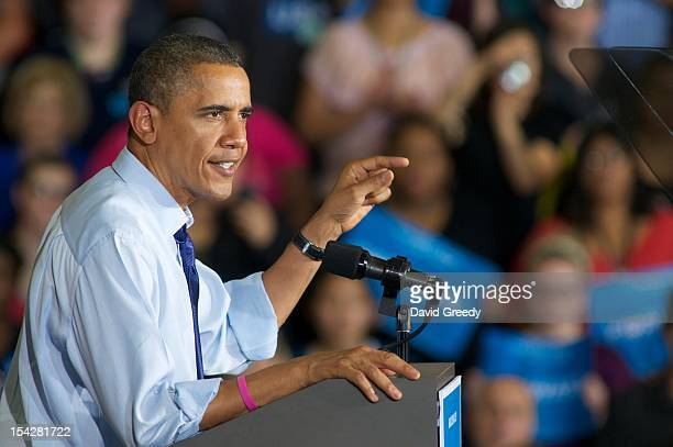 S President Barack Obama addresses a group at the Richard and Norma Small MultiSports Center Gym at Cornell College on October 17 2012 in Mount...