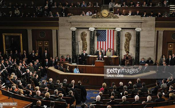 US President Barack Obama addresses a Joint Session of Congress at the Capitol in Washington DC on February 24 2009 AFP PHOTO / Saul LOEB