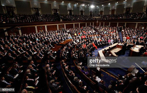 President Barack Obama addresses a joint session of the U.S. Congress at the U.S. Capitol September 9, 2009 in Washington, DC. Obama addressed the...