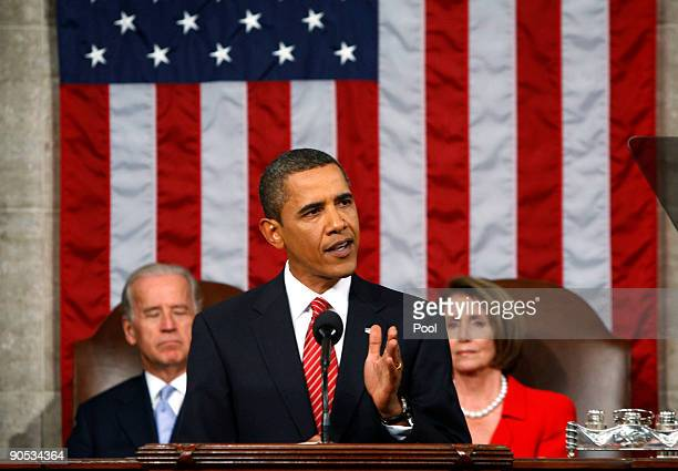 S President Barack Obama addresses a joint session of the US Congress at the US Capitol with US Vice President Joe Biden and Speaker of the House Rep...