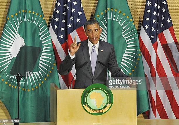 US President Barack Obama addresses African Union in Addis Ababa on July 28 2015 Obama arrived at the African Union headquarters today to become the...