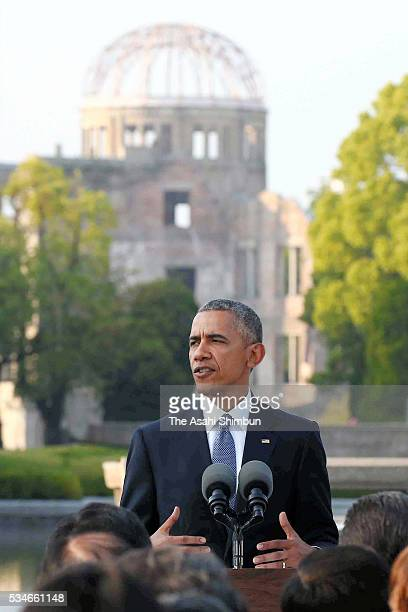 US President Barack Obama addresses after offering wreaths at the cenotaph at the Hiroshima Peace Memorial Park on May 27 2016 in Hiroshima Japan...