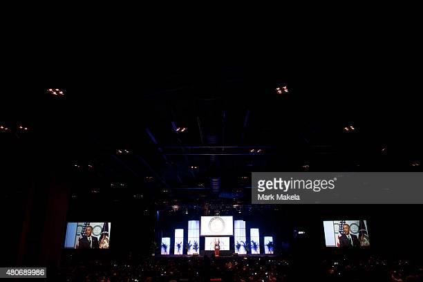 S President Barack Obama addresses attendees at the 106th NAACP national convention on July 14 2015 in Philadephia Pennsylvania Obama's speech...