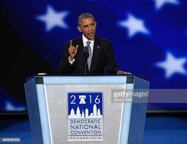 President Barack Obama addresses Day 3 of the Democratic National Convention at the Wells Fargo Center, July 27, 2016 in Philadelphia, Pennsylvania....