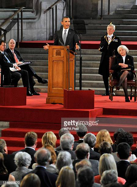 S President Barack Obama addresses members of the House of Lords and House of Commons in Westminster Hall on May 25 2011 in London England The 44th...