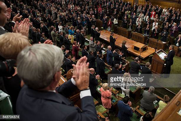 US President Barack Obama addresses Parliament in the House of Commons Chamber on Parliament Hill while attending the North American Leaders Summit...
