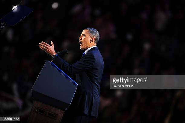 US President Barack Obama addresses suporters after winning the 2012 US presidential lection night November 7 2012 in Chicago Illinois Obama swept to...