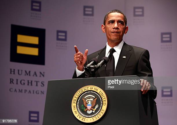 S President Barack Obama addresses the 13th Annual National Dinner of the Human Right Campaign October 10 2009 in Washington DC Thousands of...