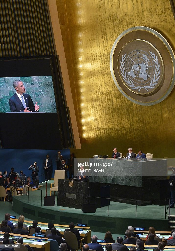 US President Barack Obama addresses the 70th Session of the United Nations General Assembly at the United Nations headquarters on September 28, 2015 New York.