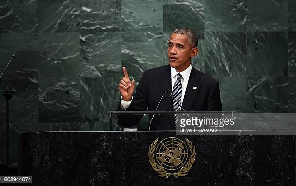 President Barack Obama addresses the 71st session of the United Nations General Assembly at the UN headquarters in New York on September 20 2016 /...