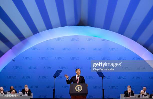 S President Barack Obama addresses the American Israel Public Affairs Committee's annual policy conference at the Washington Convention Center March...