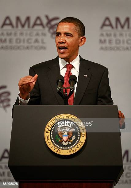 President Barack Obama addresses the annual meeting of the American Medical Association June 15 2009 in Chicago Illinois Obama used the meeting to...