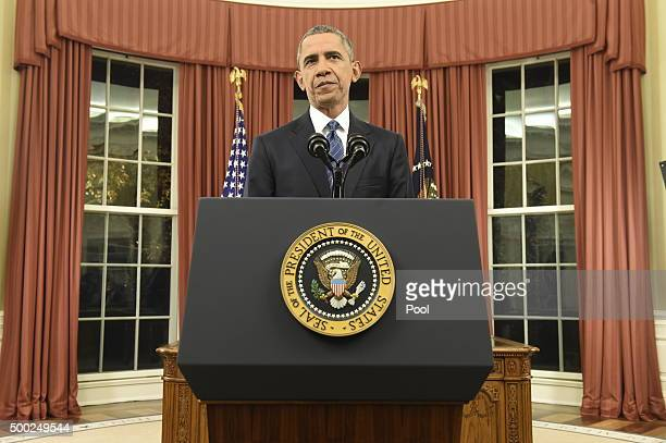 S President Barack Obama addresses the country from the Oval Office on December 6 2015 in Washington DC President Obama is addressing the terrorism...