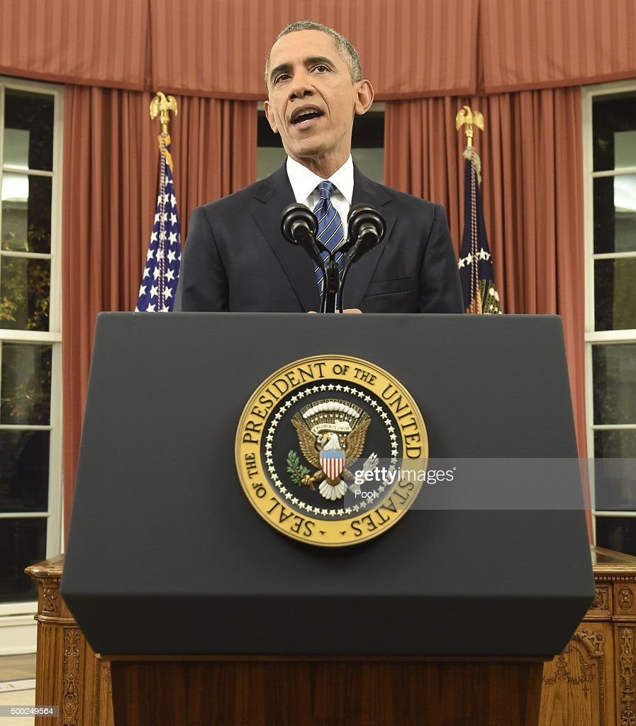 U.S. President Barack Obama addresses the country from the Oval Office on December 6, 2015 in Washington, DC. President Obama is addressing the terrorism threat to the United States and the recent attack in San Bernardino, California.