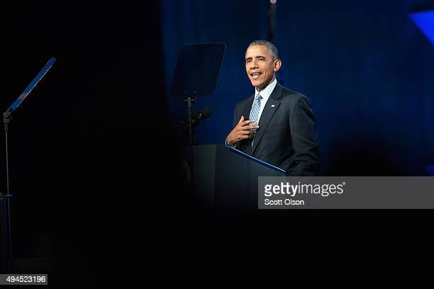 President Barack Obama addresses the International Chiefs of Police annual conference at McCormick Place on October 27 2015 in Chicago Illinois The...
