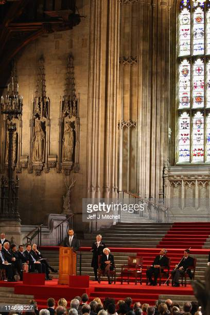 S President Barack Obama addresses the members of Parliament in Westminster Hall on May 25 2011 in London England The 44th President of the United...