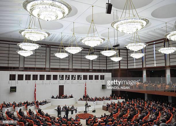 US President Barack Obama addresses the Turkish Grand National Assembly April 06 2009 at the Turkish Parliament in Ankara US President Barack Obama...