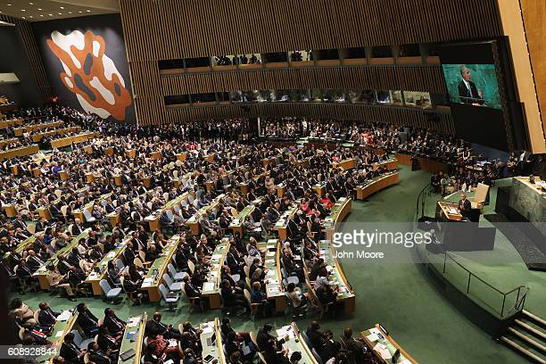 President Barack Obama addresses the United Nations General Assembly on September 20, 2016 in New York City. Heads of state gathered to address...