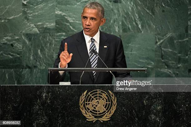 S President Barack Obama addresses the United Nations General Assembly at UN headquarters September 20 2016 in New York City According to the UN...